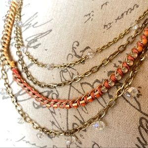 Loft gold necklace with orange and crystal accents